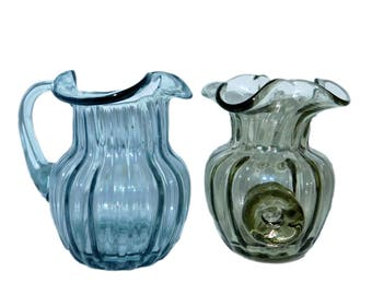 Vintage HAND BLOWN Blue & Green Glass Syrup Dressing Serving Pitcher Set