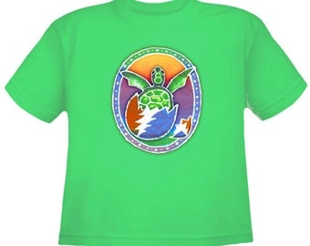 Grateful Dead Kids T-shirt- Hatching Terrapin Turtle/ 13 point lightning bolt shell
