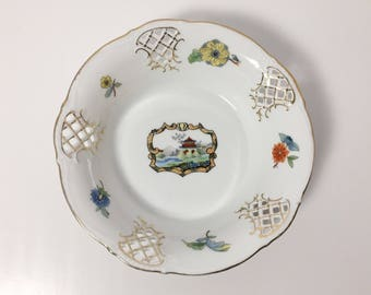 Schumann Dresden Small Porcelain Reticulated Bowl - Chinoiserie Pattern - Carl Schumann China Bavaria Germany