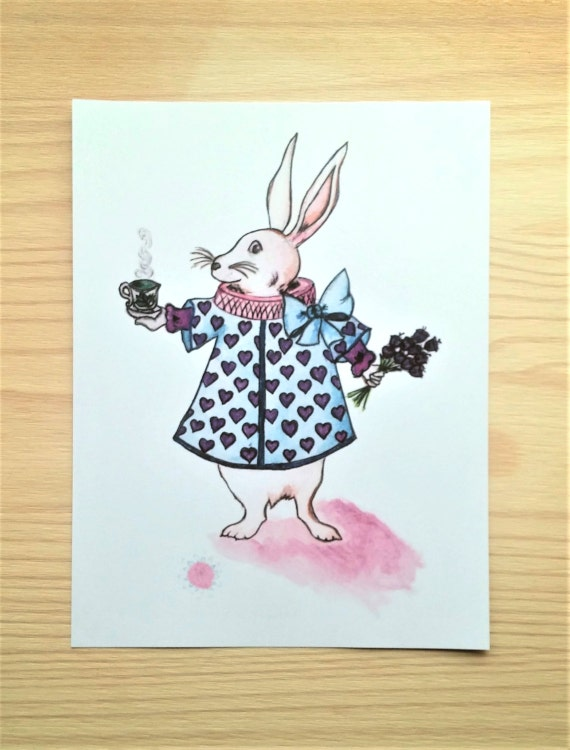 Tea party with the White rabbit, small illustration