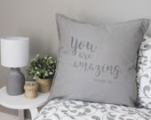 Handprinted quote pillow,...