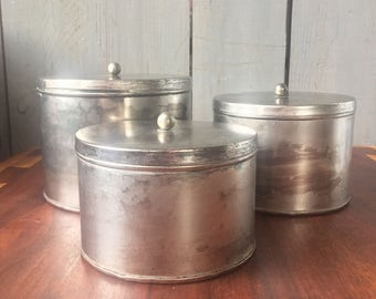 Vintage Nesting Tin Canisters with knobbed lids, Distressed Look, kitchen bathroom workroom storage containers