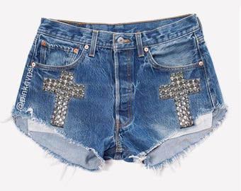 Levis High waisted shorts Denim Jean studded frayed distressed all sizes