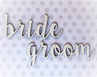 """Bride & Groom Cutouts 1/4"""" MDF - UNFINISHED"""