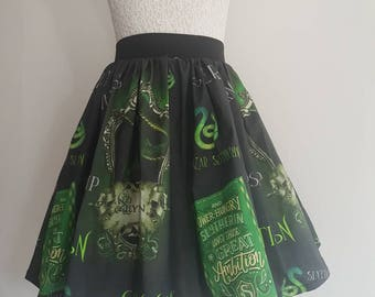 Adult Harry Potter Inspired Slytherin Full Skater Skirt