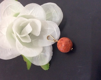 Coral Gold Pendant//Gift for Her