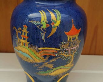 CARLTONWARE vintage New Mikado vase/gorgeous lustre Japanese /chinaland/1920s/rare vase /ships worldwide from uk