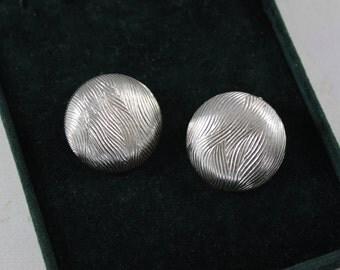 Vintage Coro Clip On Earrings - Round Silver Tone Clip On Earrings - Textured Clip On Earrings - Signed Coro Earrings
