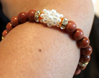 Beautiful gold-stone & pearl-beaded bracelet; shamballa, handmade, beadweaving, brown, white, cute, casual wear, party wear