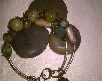 Bracelet energy.Double bracelet.Antique bronze and energy stonеs.Unakit,garden agate,jadeite.Jewelry for her.