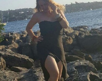 Long black dress ,splits at the front SIZE 10