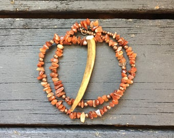 Copper and Red Agate Whitetail Deer Antler Necklace