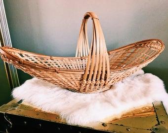 "Vintage 20"" Rattan Bread / Boho Fruit / Bread Basket"