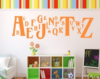 "Alphabet Wall Decal, Choose From Many Colours, Overall Size 41"" X 12"" Kids Room. Classroom"