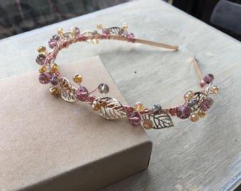 Rose Gold Leaves Headband Blush Swarovski Crystals Bridal Prom Hair Piece Tiara