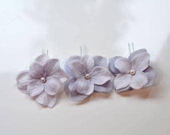 Set of 3 Handmade Pale Lavender Hydrangea Flower Hair or Bobby Pins, Bridal, Wedding (Pearl-802)