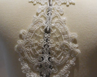 ivory floral lace applique / bridal wedding bolero lace motif is for sale, sold By piece