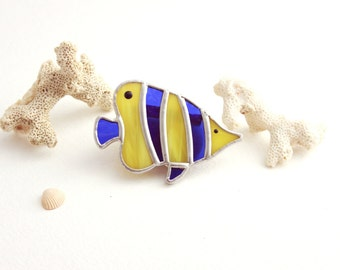 Brooch of glass Fish, Brooch sea fish