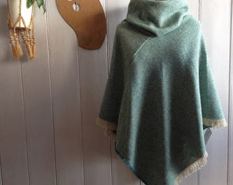recycled wool poncho