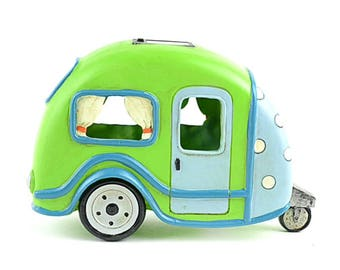 "Lime Green RV with Polka Dots, 8"", Solar Powered, Miniature Decorations for Garden"