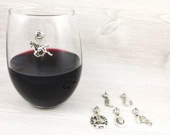 6 Western Wine Glass Charms, Cowgirl Gifts, Stemless Glass Wine Charms, Magnetic Wine Charms, Horse Lover Gifts for Her Gifts for Wine Lover