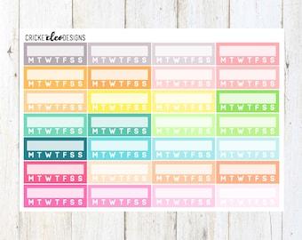 Pastel Multi Habit Checkers ( 24 Matte Planner Stickers )