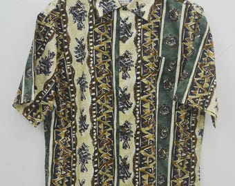 IOLANI Shirt Vintage Iolani Hawaiian Traditionals All Over Print 100% Cotton Button Down Shirt Size S
