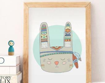 bunny wall art, Bunny print, 50% OFF rabbit art, rabbit poster, bunny kids art, nursery decor, nursery art, playroom , Animals art, TRIBAL