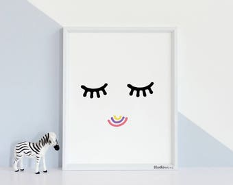 KIDS WALL ART 50% off, Childrens wall art, Black and white art,baby girl nursery, playroom printable, wall art decor, room decor, girls eyes