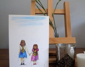 Sisters A6 watercolour greetings card