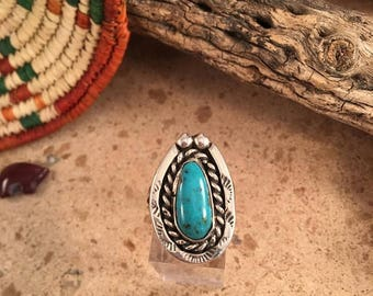 Vintage Navajo Turquoise and Sterling Silver Ring Size 8