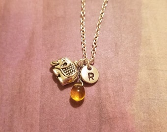 Birthstone november topaz elephant necklace elephant birthstone topaz birthstone elephant topaz november elephant november birthstone charm