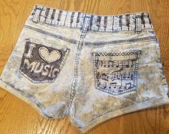 I love music denim funky shorts