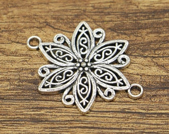 10pcs Large Flower Connector Charms Floral Connector Antique Silver Tone 28x40mm cf2646