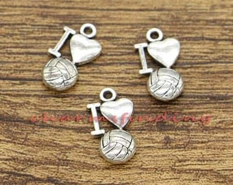 30pcs Volleyball Charms I Love Volleyball Charms Antique Silver Tone 7x19mm cf0783