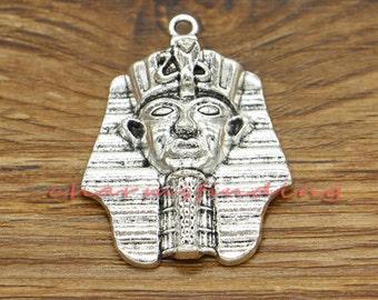 5pcs Egyptian Pharaoh Charms Antique Silver Tone 29x36mm cf1883
