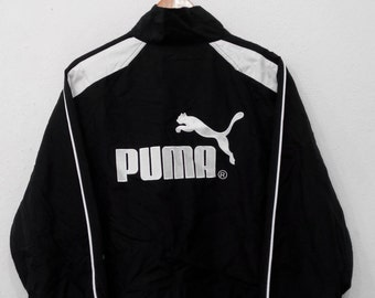 RARE!!! Puma Sport Big Logo Embroidery Black Colour Zipper Sweaters Jackets Hip Hop Swag L Size