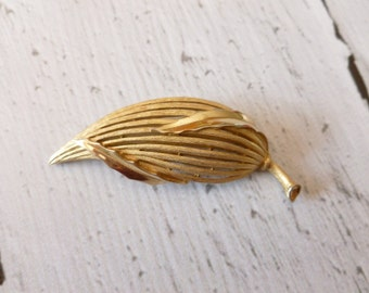 Vintage Trifari Brushed Gold Flower Bud Brooch, Signed Trifari with Crown and Copyright Symbol 1955 to 1969, Gift for Her