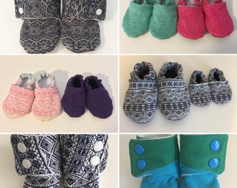 MADE TO ORDER custom Didymos wrap scrap soft sole baby booties. Many wrap options!