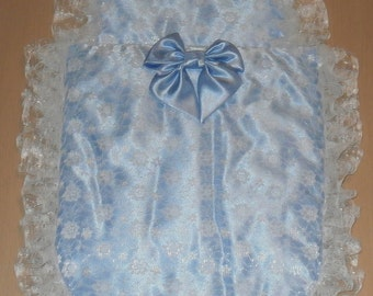 Baby Blue Satin and White Lace Moses Basket or Baby Pram Stroller Quilt Set