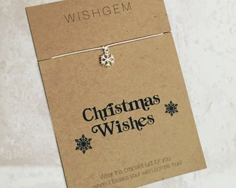 Christmas wishes wishstring wish bracelet, gift, stocking filler, secret Santa