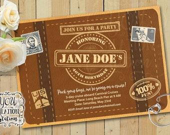 Themed Party Invitation (Travel/Traveler/Suitcase Design) Printable Downloadable File