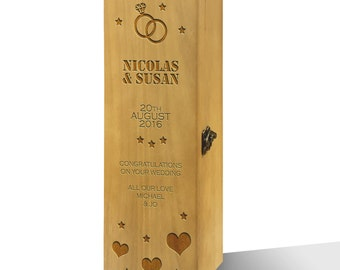 Personalised Congratulations On Your Wedding Honey Luxury Varnished Wooden Wine Box