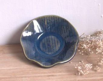 Blue Pottery bowl, Trinket Dish,  Sea Blue snack bowl,  Ceramic dish, Handmade Bowl, Small dip bowl, Housewarming gift.