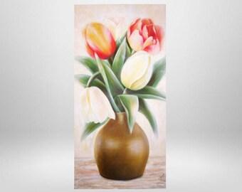 Tulips, flowers, oil painting, art print on canvas