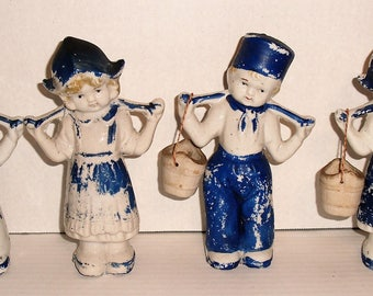 Two Dutch Boys and Two Dutch Girls with Water Buckets Figurines