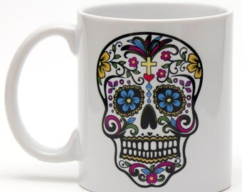 Sugar Skull Day of the Dead 11oz ceramic mug.