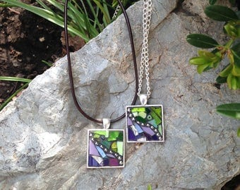 Mosaic Necklace/Purple Mosaic Necklace/Green Mosaic Necklace/Mosaic Pendant Necklace/Stained Glass Mosaic Necklace/Boho Necklace/P89