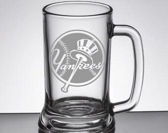 New York Yankees 26oz etched glass beer mug