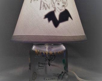 Mason jar small lamp, nightlight - Peter Pan, Neverland influenced